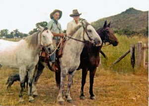 "In 2004 the BNT received this photo of Dan Seymour (l) and Tom McEvoy (r) kindly sent by Tom's daughter Tricia McKinnon. Tricia says ""My Dad, Tom McEvoy, rode through and met Dan at Bouldercombe brought him through to our home at Boongary for the night and then rode on with him the next day. ...  Dad passed away [in 1974] ... but I'm sure that this event with Dan Seymour was one of the highlights of his life."""